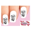 Anchor with Lilly Flowers Set of 20  Waterslide Nail Decals