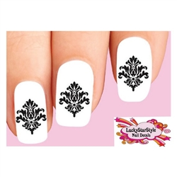 Black Damask Baroque Lace Set of 20 Waterslide Nail Decals