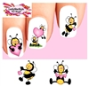 Cute Bees with Pink Hearts Assorted Set of 20 Waterslide Nail Decals