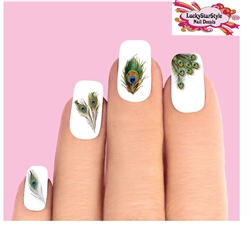 Peacock Feathers Assorted Set of 20 Waterslide Nail Decals