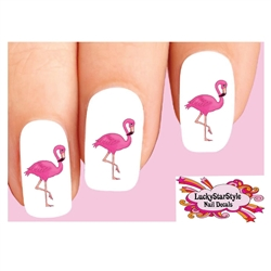 Pink Flamingo Set of 20 Waterslide Nail Decals