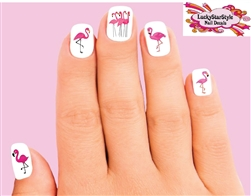 Pink Flamingo Assorted Set of 20 Waterslide Nail Decals