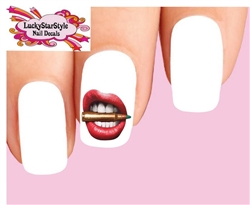 Bite the Bullet Red Lips Waterslide Nail Decals
