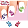 3 Colorful Butterflies Assorted  Set of 20 Waterslide Nail Decals