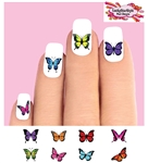 Colorful Butterflies Butterfly Assorted Set of 48 Waterslide Nail Decals