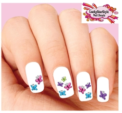 Colorful Butterflies Assorted Set of 20 Waterslide Nail Decals