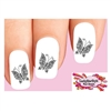 Black Butterfly with Flowers & Scrolls Set of 20 Waterslide Nail Decals