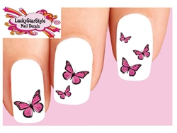 Pink Monarch Butterflies Butterfly Assorted Set of 20 Waterslide Nail Decals