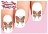 Vintage Victorian Butterfly with Pink Roses & Love Set of 20  Waterslide Nail Decals
