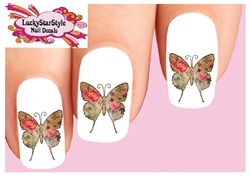Butterfly Vintage Victorian with Pink Roses Waterslide Nail Decals