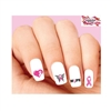 Pink Breast Cancer Awareness Ribbon, Heart, Butterfly & Hope Assorted Waterslide Nail Decals