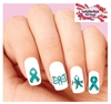 Ovarian Cancer Awareness Teal Ribbon Hope Butterfly Set of 20 Waterslide Nail Decals