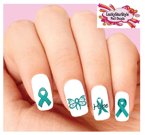 Ovarian Cancer Awareness Teal Ribbon Hope Butterfly Waterslide Nail Decals