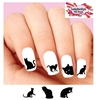 Black Kitty Cat Silhouette Assorted Set of 20 Waterslide Nail Decals