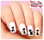 Cute Black Cat Assorted Set of 20 Waterslide Nail Decals