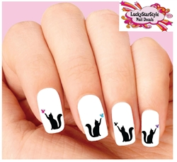 Cat with Butterfly Assorted Set of 20 Waterslide Nail Decals