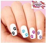 Colorful Cat Paws Claws Assorted Set of 20 Waterslide Nail Decals