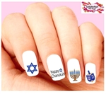 Chanukah Jewish Holiday Menorah Dreidel Assorted Set of 20 Waterslide Nail Decals