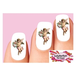 Victorian Angel Cherub Wings & Flowers Waterslide Nail Decals