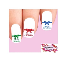 Merry Christmas Bow Assorted Colors Waterslide Nail Decals