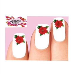 Christmas Holiday Poinsettia Waterslide Nail Decals