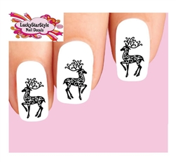 Christmas Holiday Reindeer Silhouette Waterslide Nail Decals
