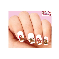Holiday Christmas Teddy Bear Assorted Waterslide Nail Decals