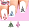 Holiday Christmas Colorful Trees Assorted Waterslide Nail Decals