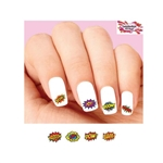 Comic Strip Sounds Pow, Bam, Kaboom, Boom, Zap, Smash Assorted Waterslide Nail Decals