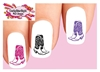Colorful Cowgirl Cowboy Boots Assorted Set of 20 Waterslide Nail Decals