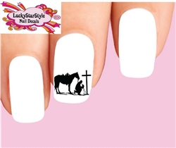 Cowboy at Cross Silhouette Set of 20 Waterslide Nail Decals