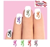 Colorful Deer Love with Heart & Bow Set of 20 Waterslide Nail Decals