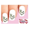 Green Camo Deer Love Buck & Doe in Heart Waterslide Nail Decals