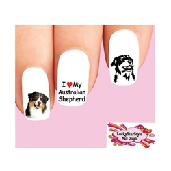 Australian Shepherd Assorted Waterslide Nail Decals