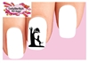 Coonhound Hunting Raccoon Tree Silhouette Waterslide Nail Decals