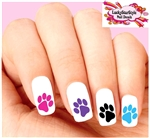 Colorful Dog Paw Print Assorted Set of 20 Waterslide Nail Decals