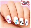 Colorful Dog Paws Assorted Set of 20 Waterslide Nail Decals