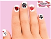 Dog Paws and Hearts Assorted Set of 20 Waterslide Nail Decals