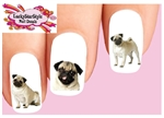 Pug Assorted Set of 20 Waterslide Nail Decals