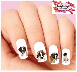 St. Bernard Assorted Set of 20 Waterslide Nail Decals