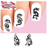 Black Dragon Silhouette Assorted Set of 20 Waterslide Nail Decals