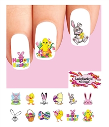 Happy Easter Bunny Basket Chick Eggs Assorted Set of 48 Waterslide Nail Decals