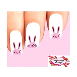 Cute Easter Bunny Pink Face Waterslide Nail Decals