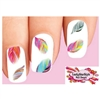 Colorful Rainbow Feathers Assorted Set of 20 Waterslide Nail Decals