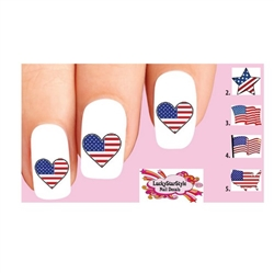 USA American Flag Heart Star Set of 10 Waterslide Nail Decals