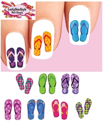 Colorful Summer Flip Flops Sandals Assorted Set of 20 Assorted Waterslide Nail Decals