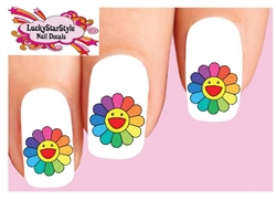 Smiley Face Colorful Flower Set of 20 Waterslide Nail Decals