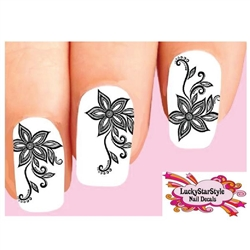 Black Lace Flowers Set of 20 Waterslide Nail Decals