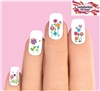 Colorful Spring Flowers, Butterflies & Dragonflies Assorted Set of 20 Wateslide Nail Decals