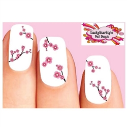 Pink Cherry Blossoms Flowers Assorted Waterslide Nail Decals